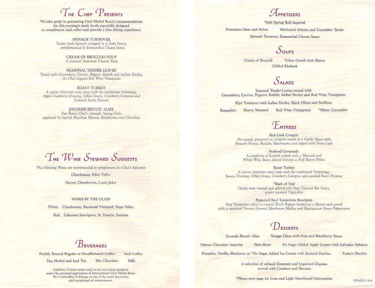 Celebrity Menu And More! Refresehed 2013 – cruise with gambee