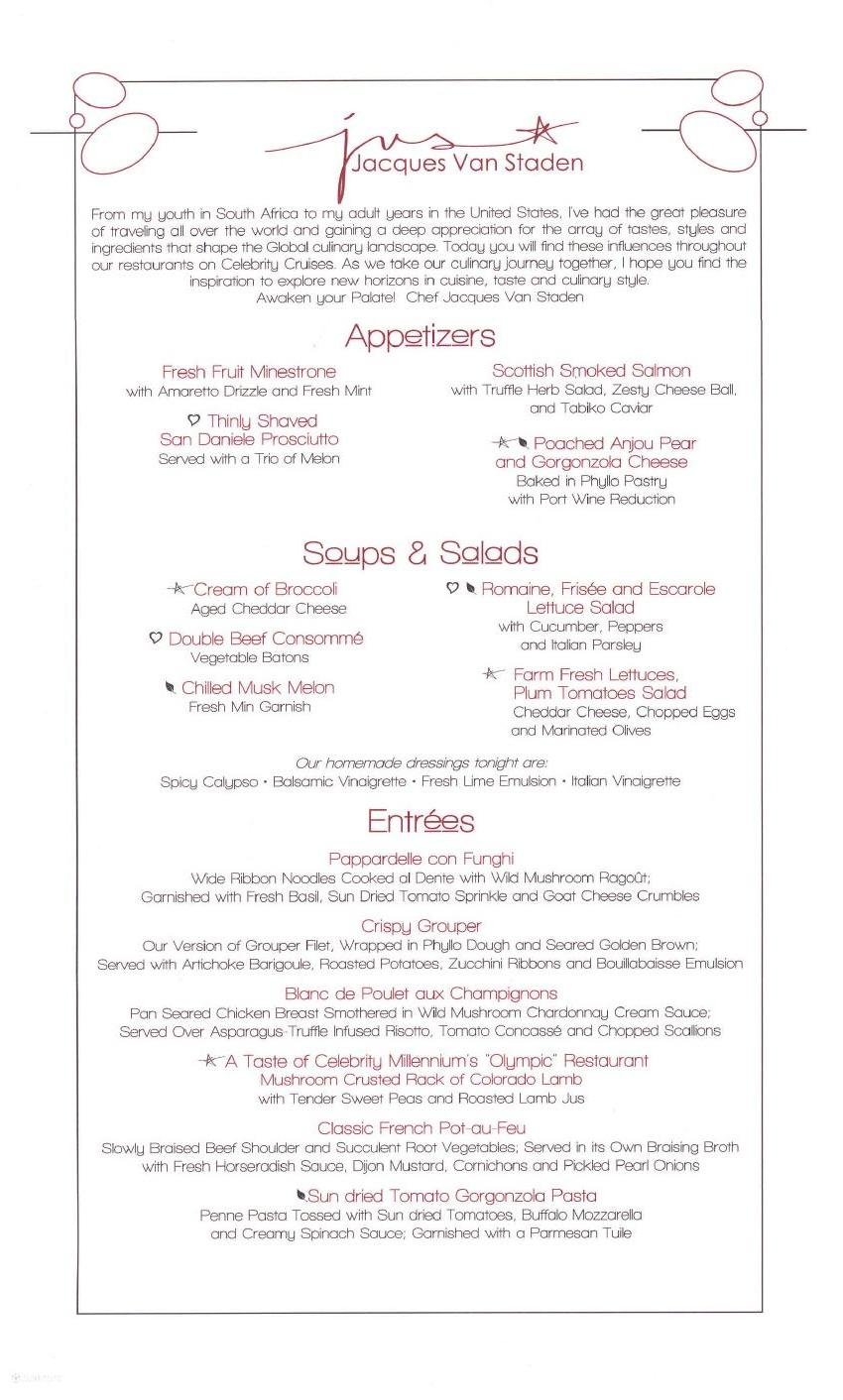 Celebrity Eclipse menu - Moonlight Sonata Main Restaurant