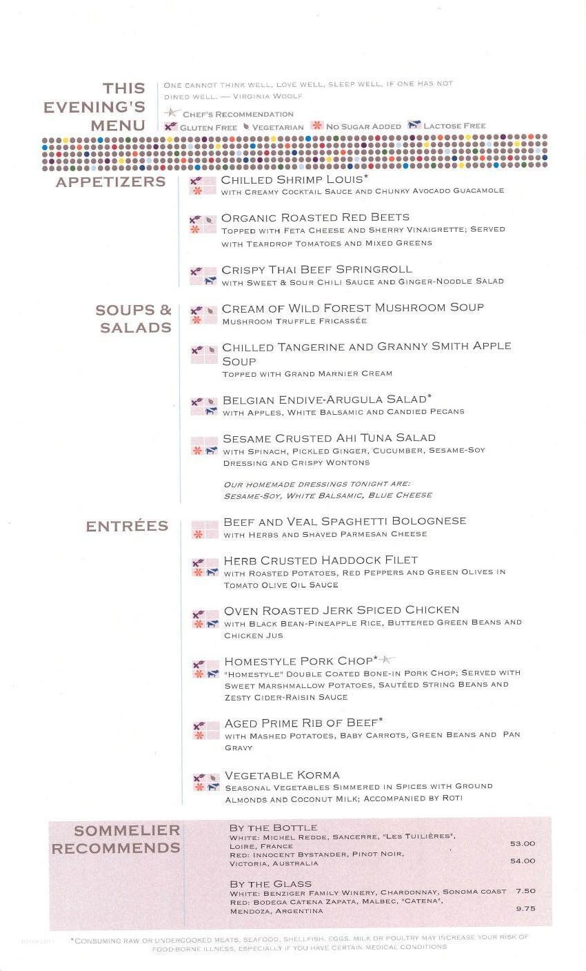 Murano menu celebrity eclipse pictures