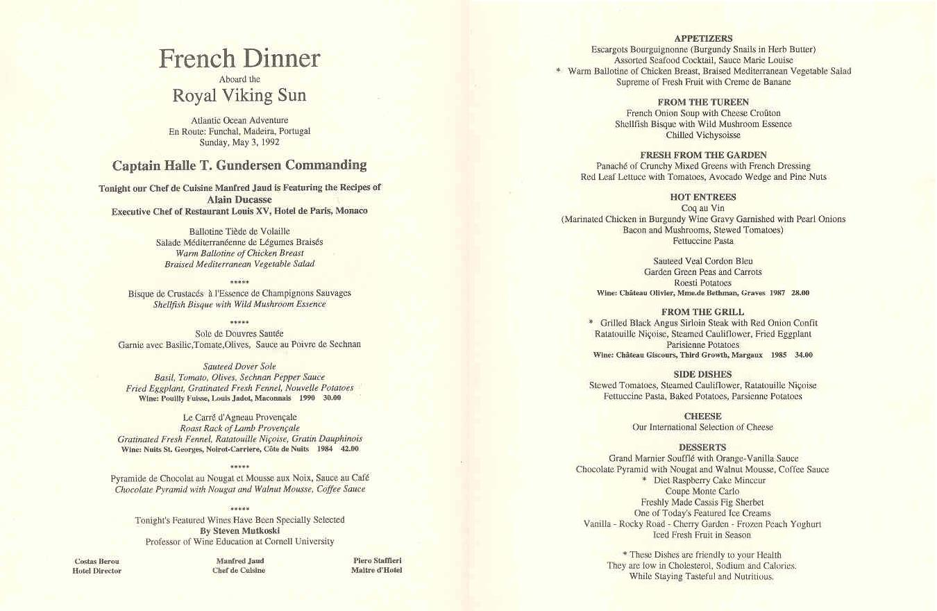 Royal Viking Menus